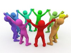 a photo graphic of people, multi-colored, holding hands up and clasped together in a circle.